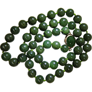 Vintage Green Jade Necklace With 14K Gold Clasp - 20 1/2-Inches