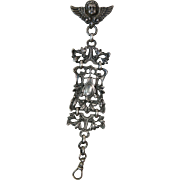 Wonderful Antique Sterling Silver Watch Fob With Detachable Cherub Watch Pin