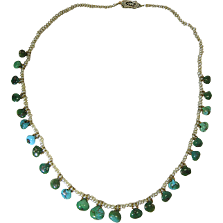 Ethereal Vintage 14K Gold Freshwater Pearl And Turquoise Necklace