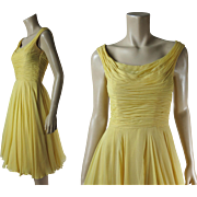 Breezy 1950's Vintage Ceil Chapman Sleeveless Silk Chiffon Cocktail or Evening Dress