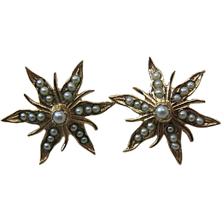 Antique Victorian 14K Gold & Seed Pearl Flower Earrings With Threaded Posts