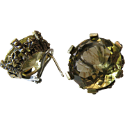 Vintage Stephen Dweck Sterling & Bronze Earrings With 15 Carat Citrines