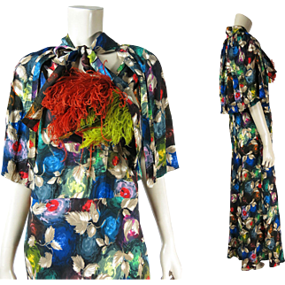 1930's Vintage Sleeveless Bias Cut Printed Silk Dress With Matching Cape