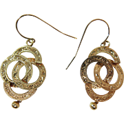 Beautiful Pair Of Vintage 14K Yellow Gold Victorian Style Dangle Earrings