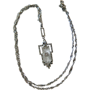 1930's Art Deco 14K White Gold Rock Crystal & Diamond Pendant Necklace