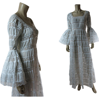 Romantic 1970's White Lace & Gauzy Cotton Dress With Bell Sleeves