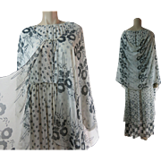 Fluttery 1970's 2-Piece Printed Chiffon Georgette Dress & Shawl Ensemble