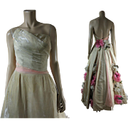 Sumptuous 1950's Sleeveless Velvet & Chiffon Evening Gown With Flower Appliques