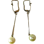 Vintage 14K Yellow Gold 7.8-mm Champagne Colored Cultured Pearl Earrings