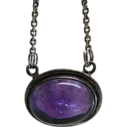 Vintage Circa 1920 Sterling Silver & 10.25 Carat Natural Amethyst Cabochon Pendant Necklace