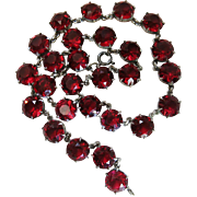 Vintage Ruby Red Paste Riviere Necklace