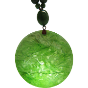 Vintage 35-Inch Spinach Green Nephrite Jade Pendant Necklace With 14K Gold Beads