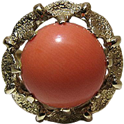 Vintage 14K Yellow Gold Ring With 3.4 Carat Coral Cabochon