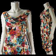 Vintage 1960's Ceil Chapman Sarong Style Printed Silk Cocktail Dress