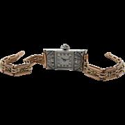 Whiteside & Blank Art Deco Platinum & Diamond Ladies Watch W/ 14K Gold Bracelet ON LAYAWAY