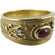 Vintage 14K Yellow Gold, Natural Ruby And Diamond Etruscan Style Ring Size 10.5