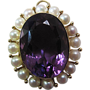 Glowing Vintage 14K Yellow Gold Fine 15 Carat Amethyst & Cultured Pearl Pendant Brooch