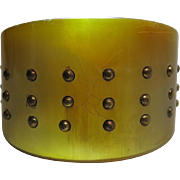 Art Deco Era Horn Cuff Bracelet With Brass Piqué Studs