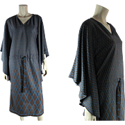 Dated 1977 Vintage Roberta Di Camerino Trompe L'oeil Caftan Jersey Dress
