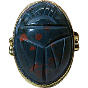 Vintage Gold Filled Ring With 25 Carat Carved Bloodstone Scarab