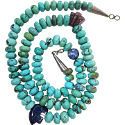 Vintage Native American Indian Silver And Turquoise Bead Necklace With Sodalite, Lapis And Sugilite Corn