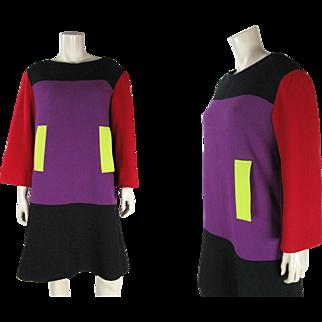 Vivid 1980's Vintage Christian LaCroix Color Block Dress