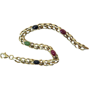 Vintage14K Gold Line Bracelet With Ruby Emerald And Sapphire Cabochons