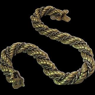 1960's Italian 18K Yellow & White Gold Double Rope Twist Bracelet