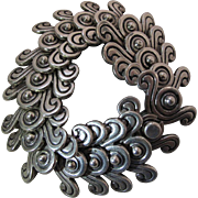 1940's Vintage Heavy Mexican Sterling Silver Pre-Columbian Double Swirl Design Bracelet