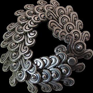 1940's Vintage Heavy Mexican Sterling Silver Pre-Columbian Double Swirl Design Bracelet