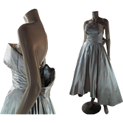 1950's Vintage Couture Quality Strapless Shelf Bust Silk Satin Evening Dress