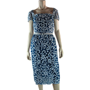 1960's Vintage Samuel Winston For Roxanne Blue Lace Cocktail Dress