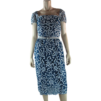 1960's Vintage Samuel Winston For Roxanne Blue Lace Cocktail Dress
