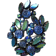 Vintage Schiaparelli Blue Aurora Borealis Rhinestone And Iridescent Molded Glass Roses Brooch