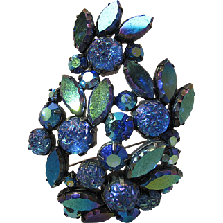 Vintage Schiaparelli Blue Aurora Borealis Rhinestone And Iridescent Molded Glass Roses Brooch