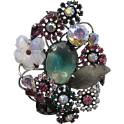 Vintage Vendome Mixed Rhinestone And Opalescent Molded Glass Brooch - 3 1/2-Inches