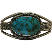 Vintage Handmade Native American Cuff Bracelet With Fine 20 Carat Turquoise Cabochon