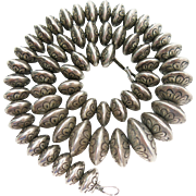 Vintage Stamped Native American Graduated Sterling Silver Bead Necklace - 18 1/2-Inches