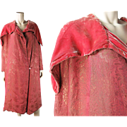 Vintage 1920's French Pink Silk Lame And Silk Velvet Evening Coat