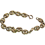 Outstanding Vintage 18K Yellow Gold Chunky Anchor / Mariner Chain Bracelet