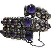 1930's Vintage Mexican Sterling Silver And Amethyst Hinged Bangle Bracelet