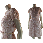 Pretty 1960's Vintage Rose Petal Pink Lace Bespoke Dress