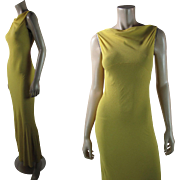 1930's Vintage Canary Yellow Silk Crepe Sleeveless Evening Dress
