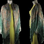 Sumptuous Art Deco Era Lamé Shawl With Silk Fringe