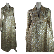Opulent Circa 1970 Vintage Geoffrey Beene Lamé Brocade Dress With Rhinestones Paillettes Studs And Spangles