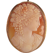 Fine And Large Antique 14K Gold Mounted Cameo Pendant - Brooch