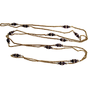 Elegant 46 Inch Art Deco Era 14K Gold Belcher Chain Necklace With Amethyst, Rock Crystal And Cultured Pearl Stations