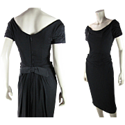 1950's Vintage Ceil Chapman Black Silk Wiggle Dress