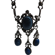 Antique 800 Silver And Sodalite Renaissance Revival Necklace With Putti