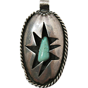 Vintage Native American Silver And Turquoise Shadowbox Pendant